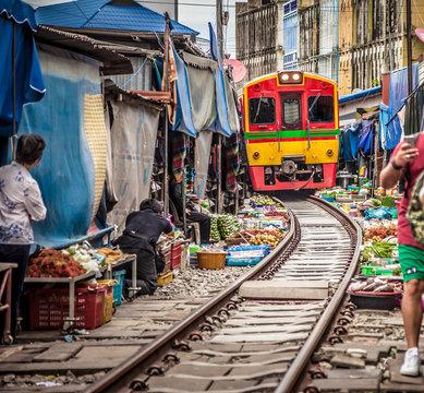 Maeklong Railway Market .