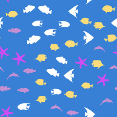 Underwater scene. Colorful fish groups in clean sea water. Seamless vector EPS 10 pattern.