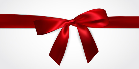 Realistic red bow with red ribbons isolated on white. Element for decoration gifts, greetings, holidays. Vector illustration