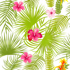 Tropical vector seamless pattern with pink flowers.