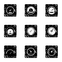 Types of speedometers icons set. Grunge illustration of 9 types of speedometers vector icons for web