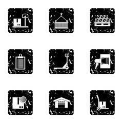 Shipping icons set. Grunge illustration of 9 shipping vector icons for web