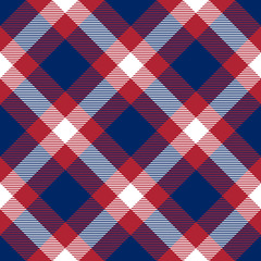 Patriotic Tartan  of White , Blue, Red Seamless Patterns