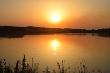 Golden sunset on the lake