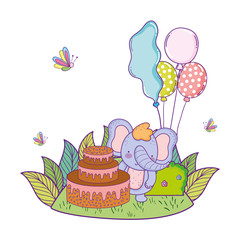 elephant with cake and balloons helium in the field
