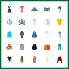 25 clothes icon. Vector illustration clothes set. hoodie and woolen sweater icons for clothes works