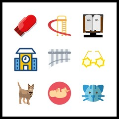 9 little icon. Vector illustration little set. alphabet book and sunglasses for kids icons for little works