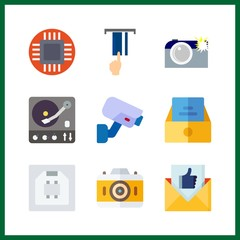 9 electronic icon. Vector illustration electronic set. inbox and email icons for electronic works
