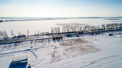 Aerial View of the Snow Road in Winter