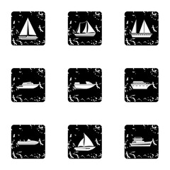 Yacht icons set. Grunge illustration of 9 yacht vector icons for web