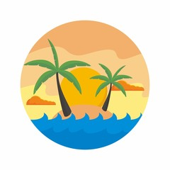 Island with palm tree vector illustration