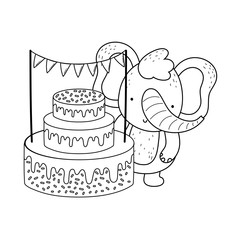 search photos happy birthday Black White and Gold Table elephant with sweet cake