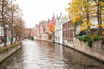 Medieval Bruges, Belgium scenery with old bridges and historical buildings framed by a touch of nature.