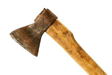 Old ax with wooden handle isolated on white background