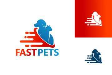 Fast Pets Logo Template Design Vector, Emblem, Design Concept, Creative Symbol, Icon