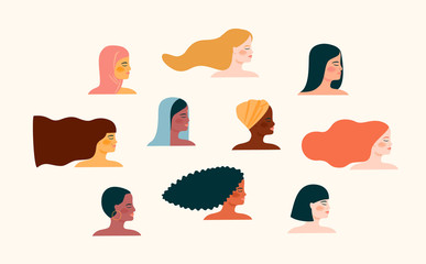 Vector illustration with with women different nationalities and cultures. Wall mural