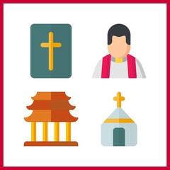 4 christ icon. Vector illustration christ set. church and religious icons for christ works