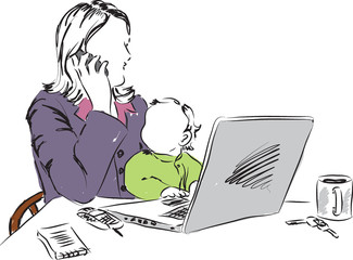 mom working at home with baby illustration