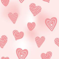 doodle valentine hearts on blush pink seamless pattern