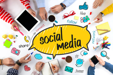 Group of Business People with Social Media Concept.