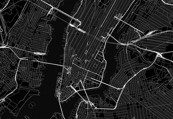 Black map of downtown New York City
