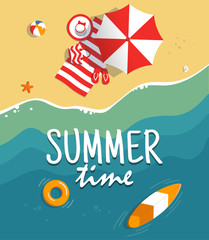Aerial view of summer beach. Background tamplate with text summer time. Vacation on the tropical seaside. Holiday on sea sand. Concept for poster and other promotional material. Vector illustration.