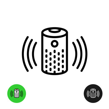Voice assistant icon. Wireless speaker line symbol