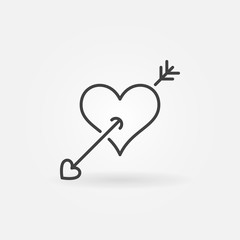 Heart with Arrow outline icon. Vector Valentines Day or Arrow of Cupid concept symbol in thin line style