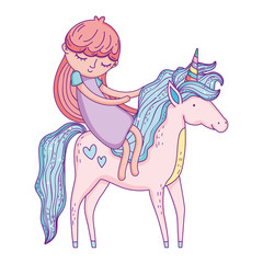beautiful little unicorn with princess characters