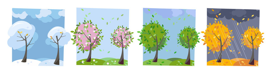 Four seasons landscape. Summer, fall, spring and winter trees. Different times of year. Set of four non-parallel pictures with view of nature. Flat cartoon vector illustration. Trees with round crown