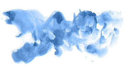 Abstract watercolor background hand-drawn on paper. Volumetric smoke elements. Blue, Marina color. For design, web, card, text, decoration, surfaces.