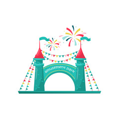 Entrance to children amusement park. Two brick towers with sign and decorated with bunting flags. Flat vector design