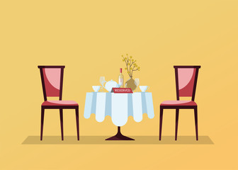 Reserved restaurant round table with white tablecloth, wineglasses, wine bottle, pot, cuts, reservation tabletop sign on it and two soft chairs. Flat cartoon vector illustration on yellow background