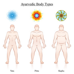 Ayurvedic dosha symbols - vata, pitta, kapha with the relevant depiction of three male body constitution types. Isolated vector illustration on white.