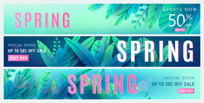 Spring sale background. Springtime discount poster set with bright green blue fantasy leaves, light effect, season type text sign 50 percent off. Promo offer template. Vector illustration