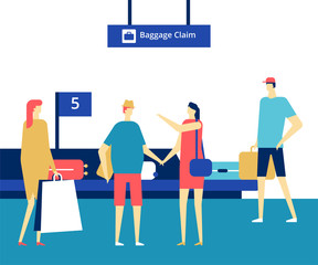 Baggage claim at the airport - flat design style colorful illustration