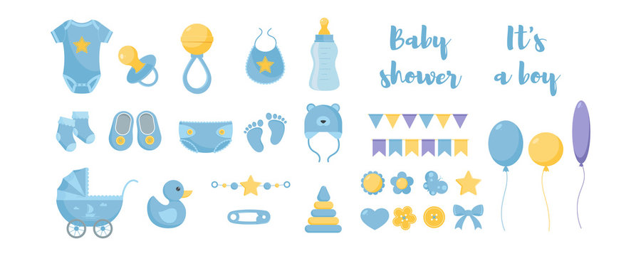 Toddler nursing and health care and hygiene products with decorative elements for baby shower design.