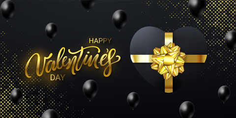 Happy Valentine's Day banner with a lettering, realistic Gift Box Heart shaped and falling Balloons on black background halftone. Horizontal holiday poster, add, header, website.