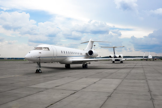 Business jet plane on the parking