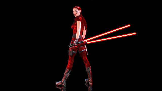 Redhead warrior girl with sci-fi light swords, braided woman with futuristic laser saber weapon isolated on black background, 3D rendering