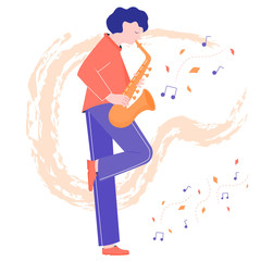 A cute musician plays the saxophone on the background of the leaves. Autumn performance. The man found inspiration in the street.