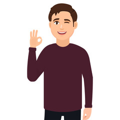 The guy shows the gesture is cool, the gesture is good. Vector illustration in cartoon style.