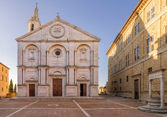 Pio II square and the Duomo of Pienza without people in the morning light, Siena, Tuscany, Italy