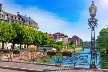 Picturesque view of Ill river bank in Strasbourg