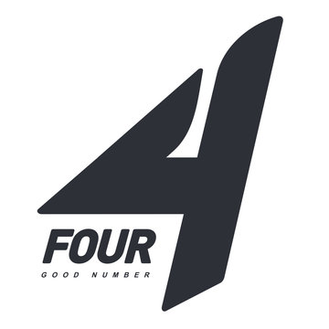 Two colors graphic number four logo templates