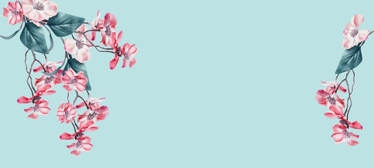 Lovely floral background frame with coral flowers blossom on light turquoise. Template or banner. Floral composing