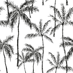 Tropical palm trees on the white background. Vector seamless pattern. Black and white graphic illustration. Paradise nature. Botanical print. Sketch design