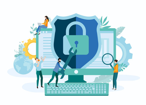 Online technologies, IT and internet security. Landing page template with people and computer.