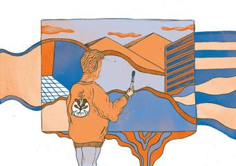 Der Künstler malt auf Leinwand