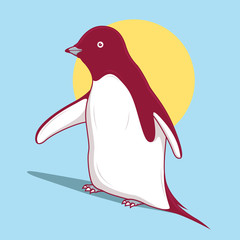 Penguin logo vector illustration. Animal, company, cold, business, bird, color, advertising design concept